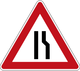 A carriageway which narrows on one side only