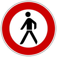 Prohibition for pedestrians