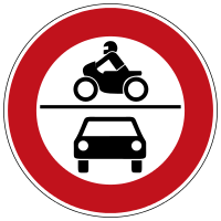 Prohibition for motor vehicles