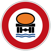 Prohibition for vehicles with a load hazardous to water