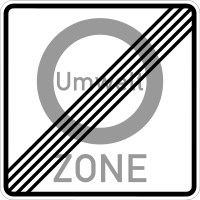 End of a traffic prohibition for preventing harmful air pollution in a zone