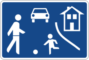 Beginning of a traffic-calmed area